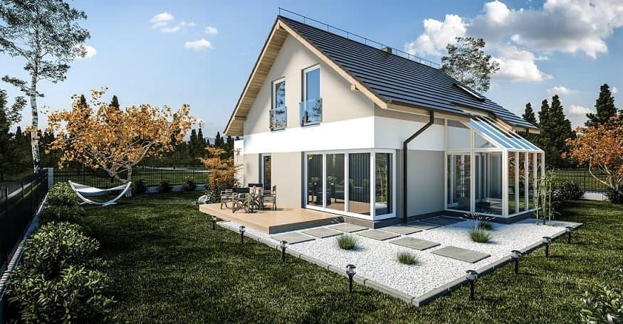 dom z ogrodem zimowym