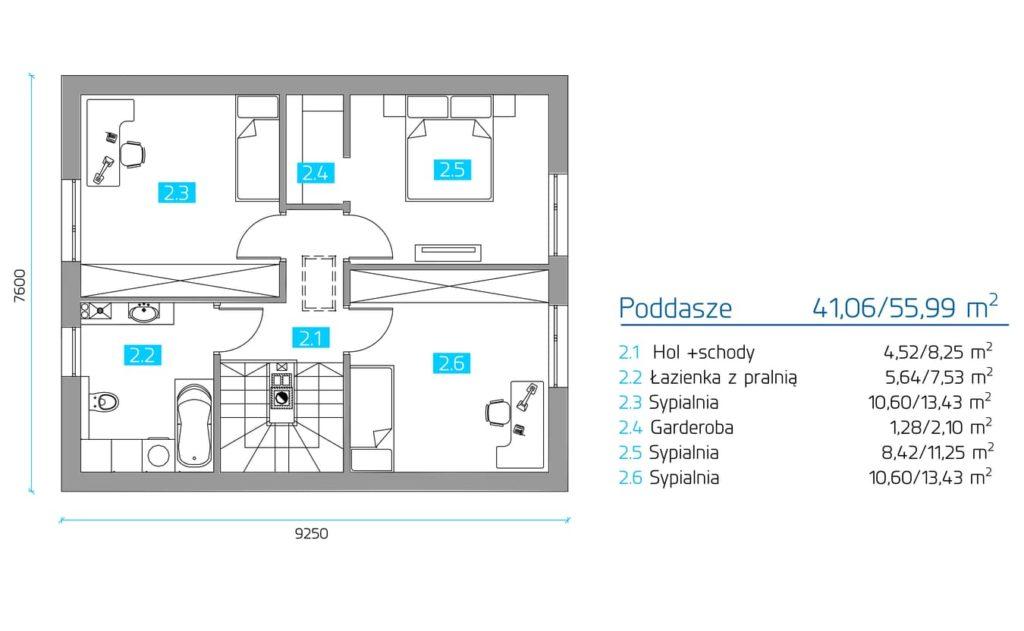 jak wybrać projekt domu - rzut poddasza